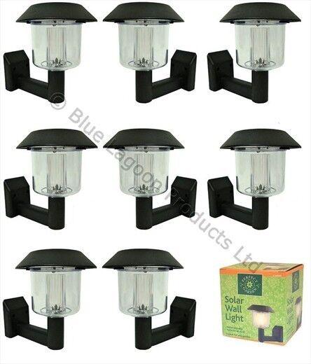 8 x Solar Power Wall Light Fence LED Outdoor Lighting Powered Garden Black