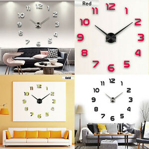Image Is Loading Modern DIY Large Wall Clock 3D Mirror Surface