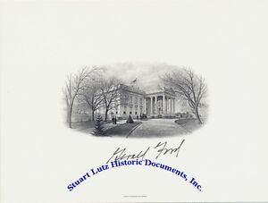 Gerald-Ford-signed-White-House-engraving-in-mint-condition
