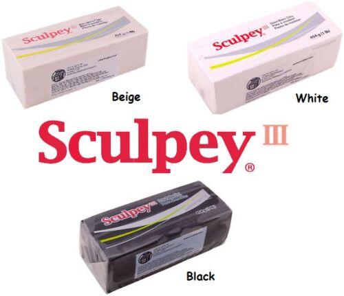 Sculpey III Polymer Clay 1 Pound CHOOSE White Black or Beige