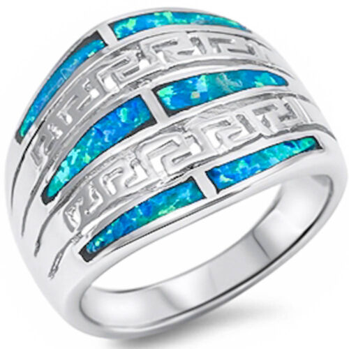 Blue Opal New Design Fashion .925 Sterling Silver Ring Sizes 6-10