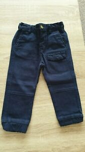 Confident Baby Boys Navy Cotton Trousers From Matalan Excellent Condition 12-18 Months