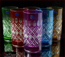 "Bohemian Colored Crystal Water Glasses 16 cm, 300 ml, ""Memfis"" 6 pc New!"