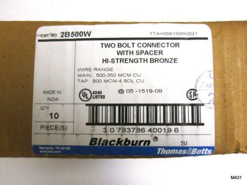 Blackburn 2B500 2 Two Bolt Connector Main 350-500 TAP 4SOL-500 CU BKB Mechanical