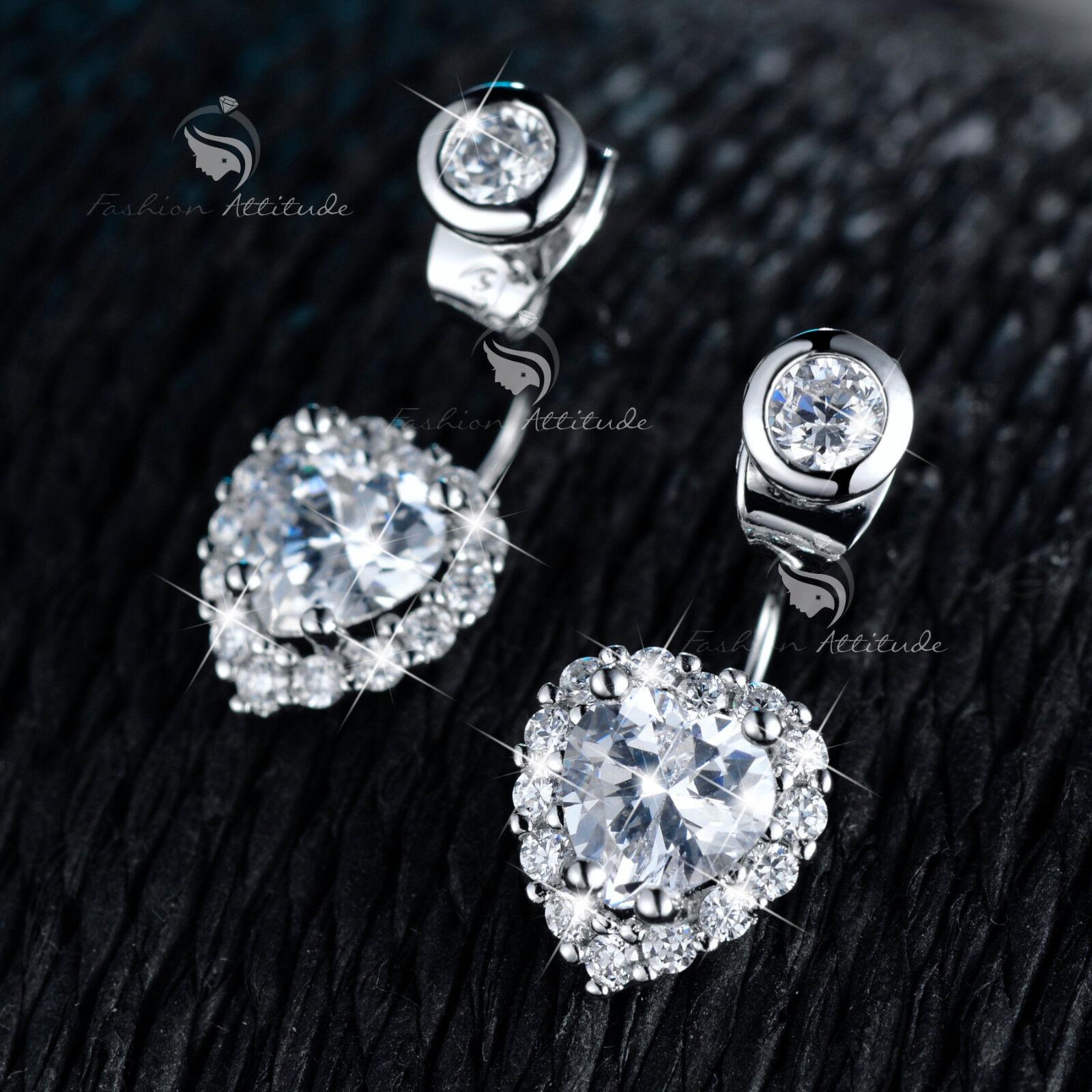 18k white gold gf made with SWAROVSKI crystal fashion stud earrings ear jacket