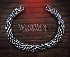 Large Silver Viking Dragon Bracelet/Torc -- Norse/Medieval/Serpent/Pewter/Bangle
