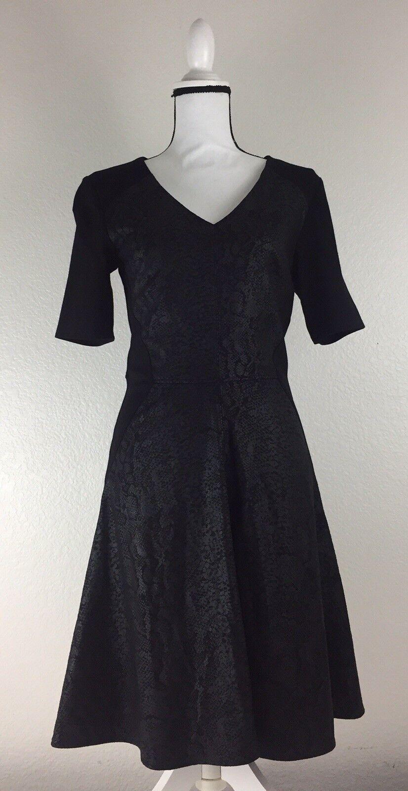 Robert Rodruiguez damen Small V-neck schwarz Snake Print Dress.  B2