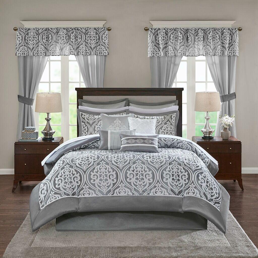 Deluxe grau Motif Faux Silk Comforter Window Curtains 24 pcs Set Cal King Queen