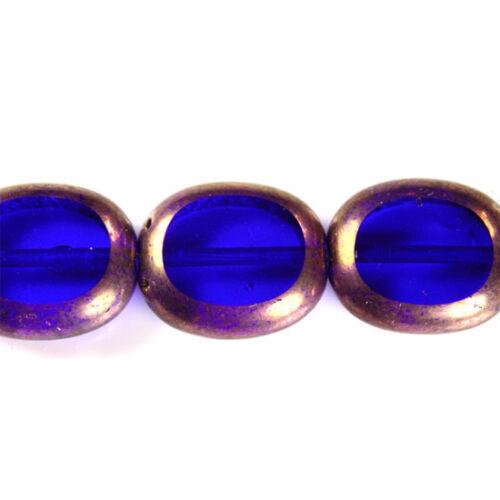 Czech Glass Bead Blue//Gold Oval 14x12mm 9 Beads *UK  SHOP*