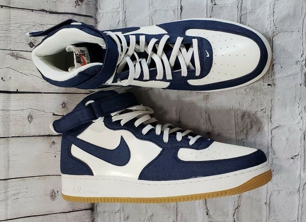 fd1551877307 NEW Nike Air Force Force Force 1 Mid 07 Denim Obsidian Sail Gum Brown  315123-