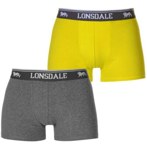 Da Uomo Lonsdale Boxer Trunks LIMONE E Grigio Acciaio Da Uomo Biancheria Intima Pantaloni