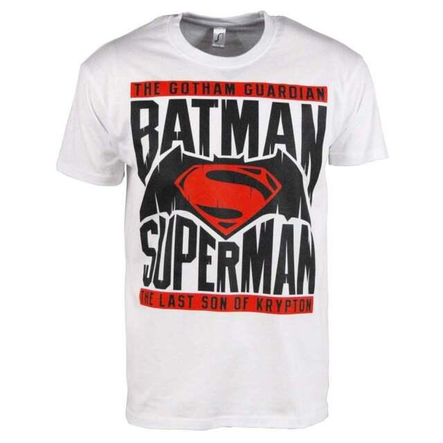 0df752462 Mens Batman v Superman Dawn Of Justice Logo T-Shirt White Dark Knight  Krypton