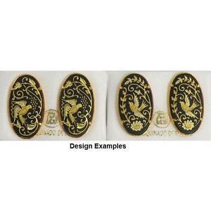Damascene-Gold-Oval-Holy-Spirit-Dove-Design-Stud-Earrings-Midas-of-Toledo-Spain
