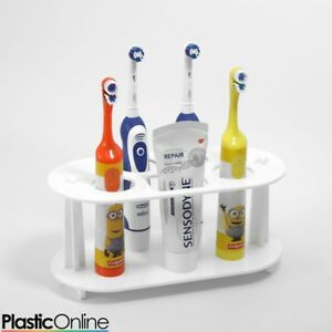 Electric-Toothbrush-Holder-Toothpaste-Holder-4x-Toothbrush-Stand-White