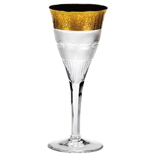 SPLENDID Crystal Gold Band MOSER WHITE WINE 6.75 NEW NEVER USED Czech Republic