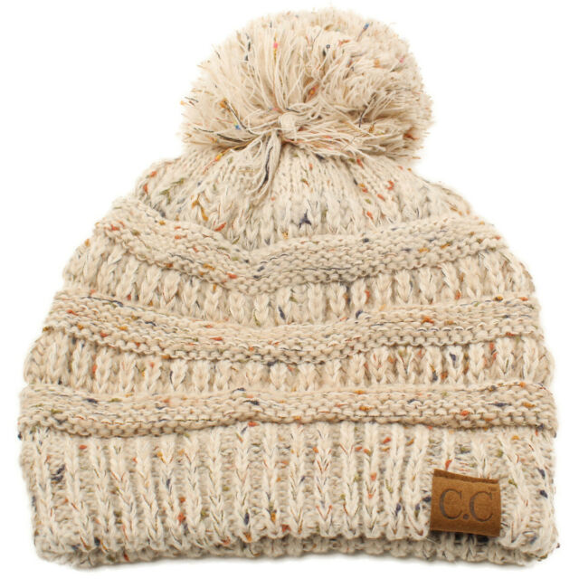 GIRLS WARM OATMEAL THICK  RIBBED CHUNKY BEANIE HAT LADIES One Size Fits All