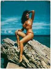 Vintage c. 1950s Oversized Postcard Pin-Up Icon Bettie Page in Bikini at Shore