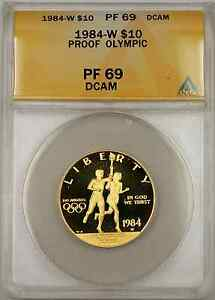 1984-W-Proof-Olympic-Commemorative-Gold-Coin-10-ANACS-PF-69-Proof-DCAM