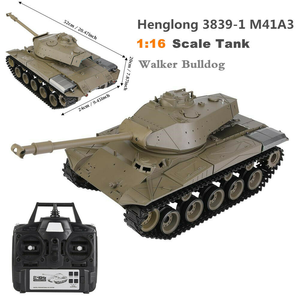 Henglong 3839-1 1 16 M41A3 High Simulation Walker Bulldog 2.4GHz RC Model Tank