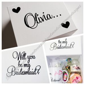 Details About Filled Will You Be My Bridesmaid Maid Of Honour Flowergirl Personalised Gift Box