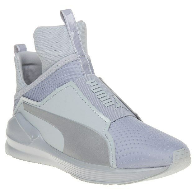 New femmes Puma Gris Fierce Quilted Textile Trainers Hi Top Elasticated Pull On