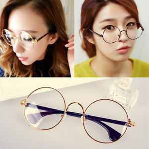 04670a3ca889 Large Big Round Circle Clear Lens Metal Frame Geek Retro Vintage ...