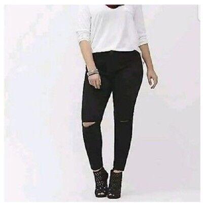 LANE BRYANT NEW Black Stretch Destructed Slashed Knees Skinny Pants Plus sz 26W