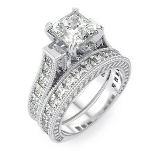 image is loading 5 ct 925 sterling silver princess cut wedding - Princess Cut Wedding Ring Sets