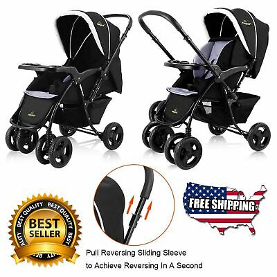 Two-Way-Foldable-Baby-Kids-Travel-Stroller-Newborn-Infant-Pushchair-Buggy-Blue