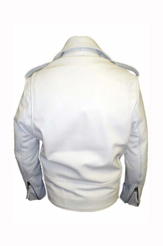 Men's White Cowhide Classic Leather Brando Real Jacket Gents Biker Motorcycle 5U4xxw