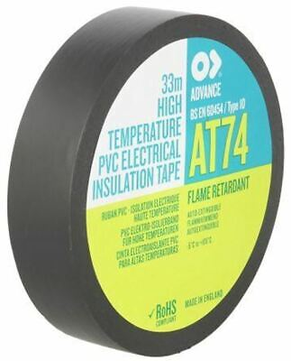 AT AT74 Black Electrical Insulation Tape High Temp 19mm x 33m Rubber Resin 105°