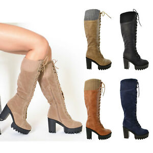 womens lace up combat leather chunky heel knee high boots