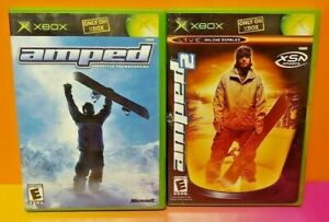 Amped-1-2-Freestyle-Snowboading-2-Game-Lot-Microsoft-Xbox-OG-Tested