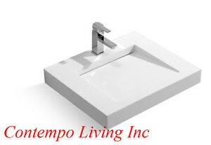 Details About 24 Inch Stone Resin Solid Surface Square Shape Bathroom Vanity Vessel Sink
