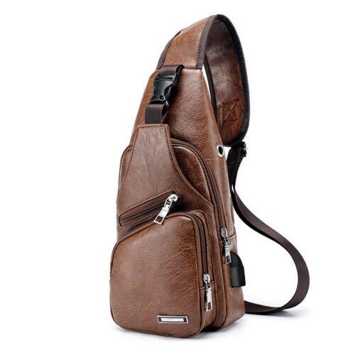 Mens Shoulder Bag  USB Charging Sling Chest Pack Outdoor Sport Crossbody Handbag