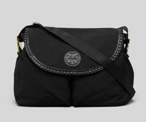 0fb010dafcba TORY BURCH NEW MARION MESSENGER DIAPER BABY BAG BLACK NYLON LEATHER ...