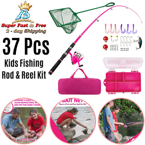 Beginners Pink Fishing Pole Tackle Box Telescoping Rod Spinning Reel Kit 37 Pcs