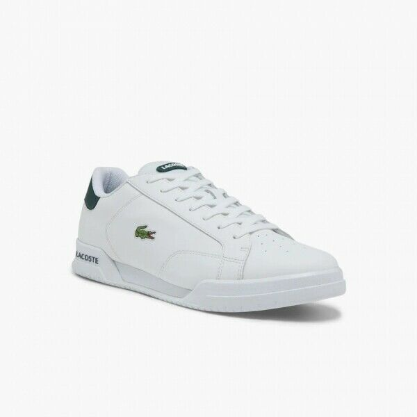 Lacoste TWIN SERVE 0721 1 Mens Classic Leather Tennis Trainers White/Dark Green