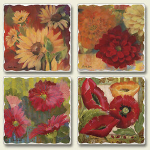 Mixed-Absorbent-Stone-Coasters-Set-4-Festival-of-Flowers-Poppies