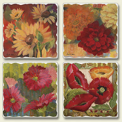 Mixed Absorbent Stone Coasters Set 4 Festival of Flowers Poppies