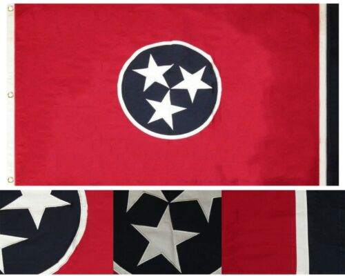 3x5 Embroidered Tennessee TN State 100% Cotton 3'x5' Flag 3 Clips