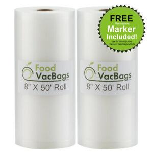 2 FoodVacBags Embossed 8x50 Rolls Vacuum Sealer Bags for FoodSaver machines