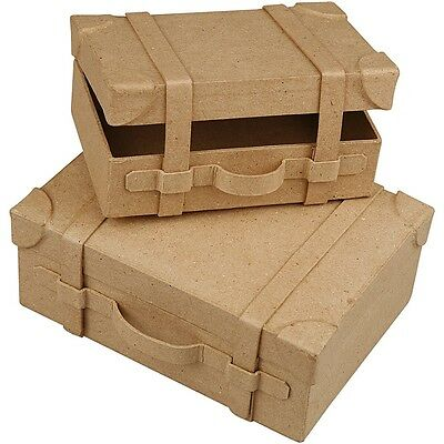 Paper Mache Vintage Mini Suitcase Gift Box To Decorate      **new lower price**