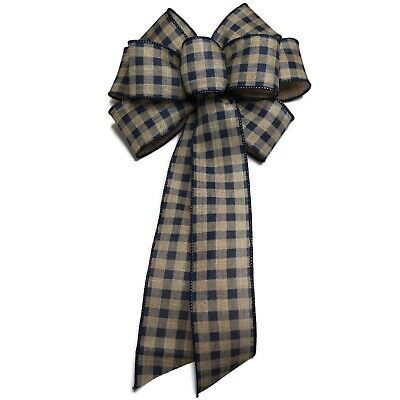 10 Natural Linen Wired Bow