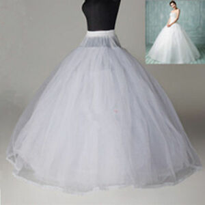 White-8-Layer-Hoopless-Crinoline-Petticoat-no-hoop-ball-gowns-wedding-Underskirt