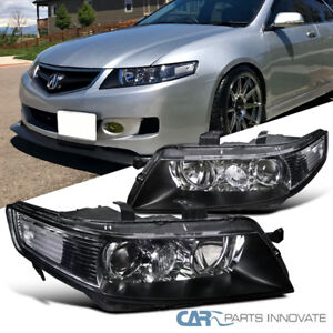 Acura TSX Dr Sedan JDM Replacement Black Projector Headlights - 2018 acura tsx grill replacement