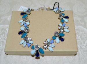NWT-57-J-CREW-Mixed-Gemstones-Flower-Petal-Collar-Party-Necklace-TEAL-and-Blue