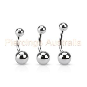 Details About 3 X 316l Surgical Steel Belly Button Bar Navel Rings Barbell Choose Length