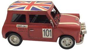 Mini-Clasico-Vintage-Britanico-Rojo-Coche-Retro-Tin-Metal-29cm-longitud-Coleccionable