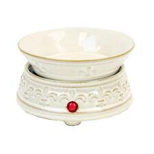 Cream Fleur De Lis Ceramic Electric Scented Oil Tart Candle Burner Warmer Lamp